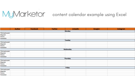 content calendar example using Excel