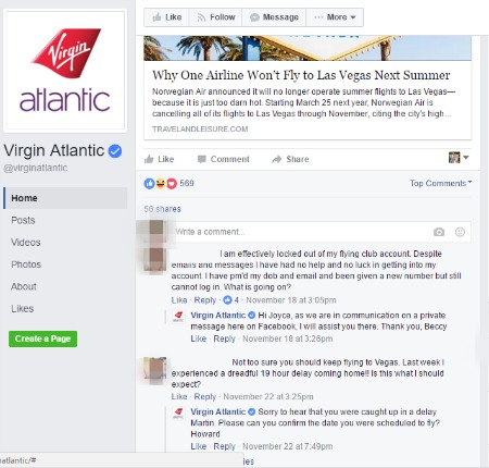 social media engagement | Virgin Atlantic Facebook