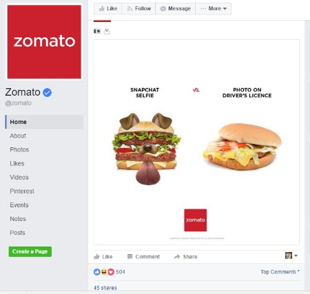 social media engagement | Zomato Facebook